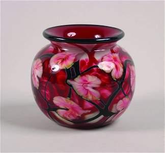 1095: A John Lotton Red Cased Glass Multi-Flora Bowl,