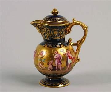 1139: A Vienna Porcelain Cobalt-Blue Ground Teapot,