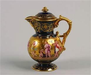A Vienna Porcelain Cobalt-Blue Ground Teapot,
