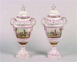 A Pair of French Porcelain Covered Urns,