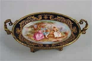 A Sevres Style Porcelain Dish,