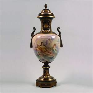1146: A Sevres Porcelain Cobalt-Blue Ground Gilt Bronze