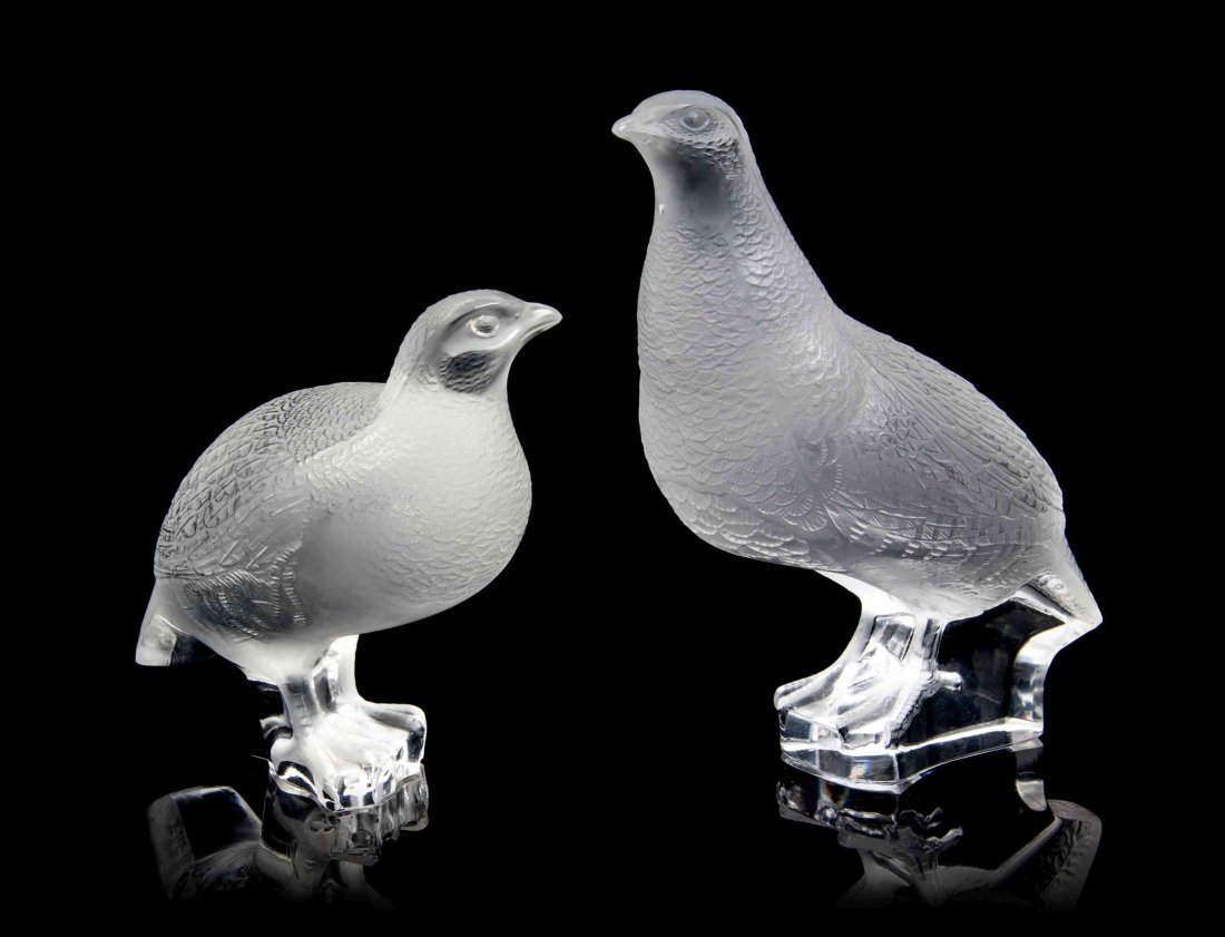 Two Lalique Molded and Frosted Glass Figures, Height of