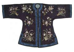 A Chinese Embroidered Silk Lady's Robe Height 41