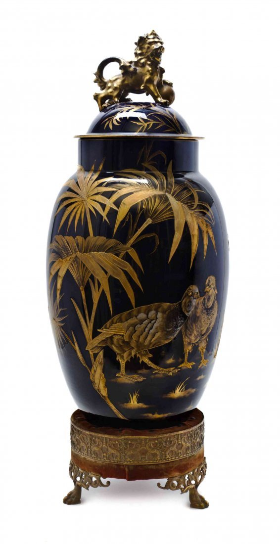 An English Cobalt Glass Vase and Cover, LATE 19TH