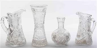 A Group of Four Cut Glass Articles Height of tallest 12