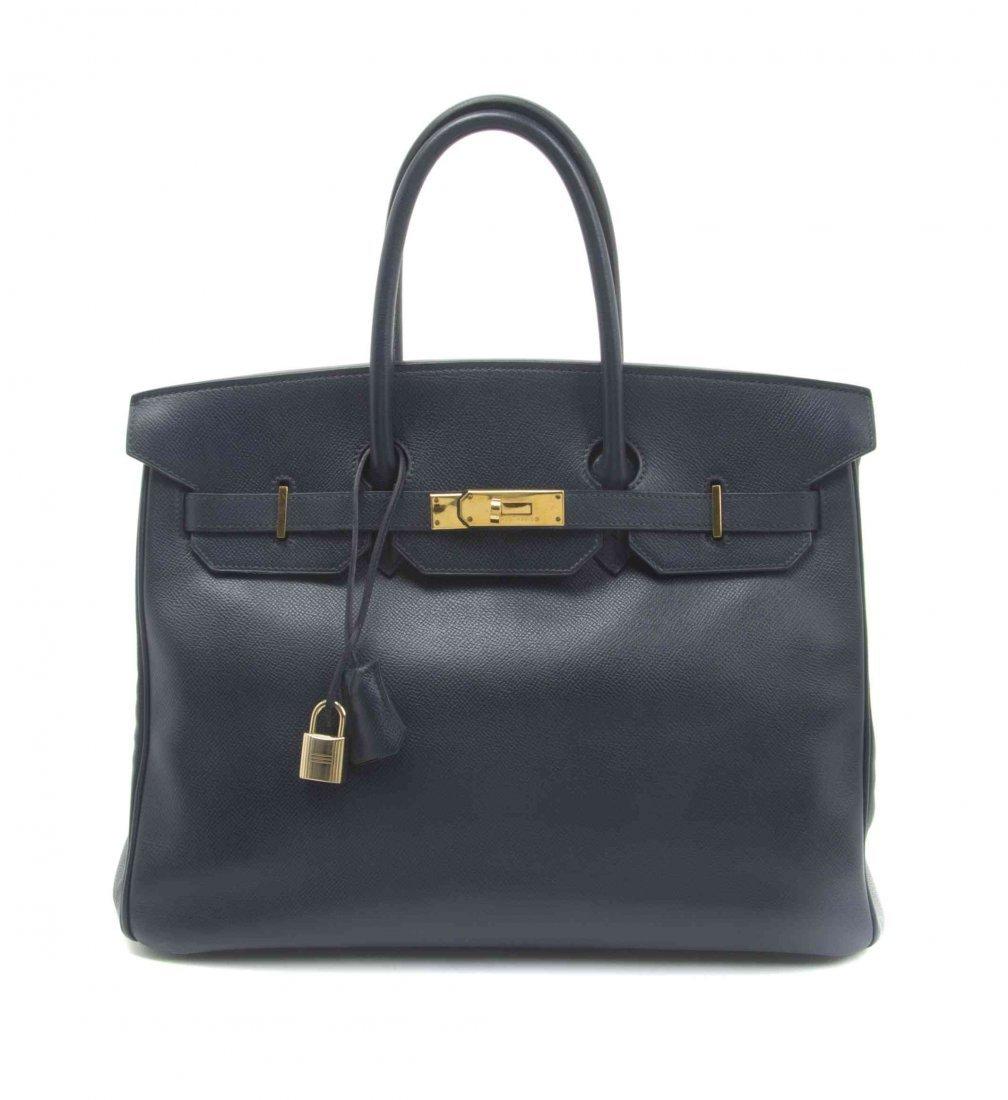 An Hermes 35cm Indigo Leather Birkin Bag, 14 x 10 x 7