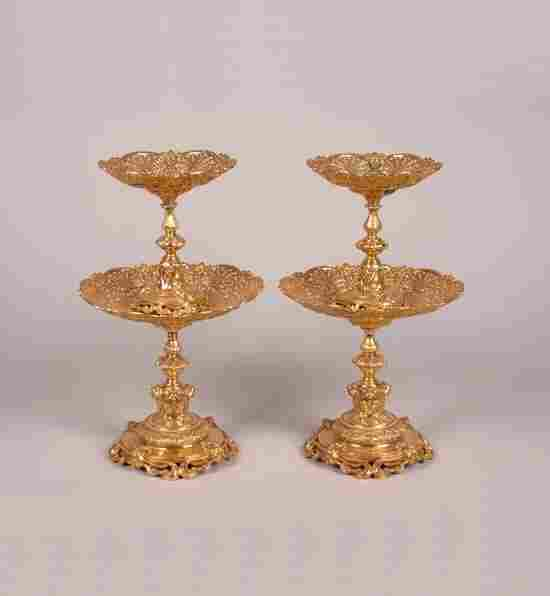 A Pair of Victorian Silver Gilt Two-Tier Tazze, R.