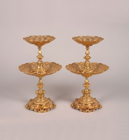 268: A Pair of Victorian Silver Gilt Two-Tier Tazze, R.