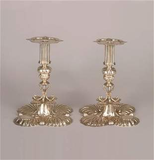 A Pair of Charles II Style Silver Candlesticks, Cr