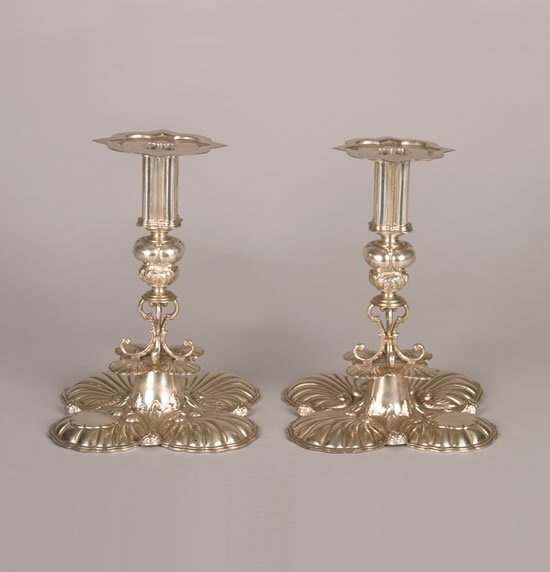 274: A Pair of Charles II Style Silver Candlesticks, Cr