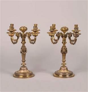 A Pair of Edward VII Silver Gilt Candelabra, Willi