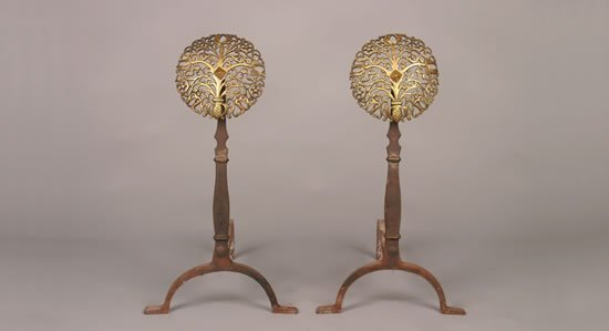 912: A Pair of Arts & Crafts Pierced Brass and Wrought-