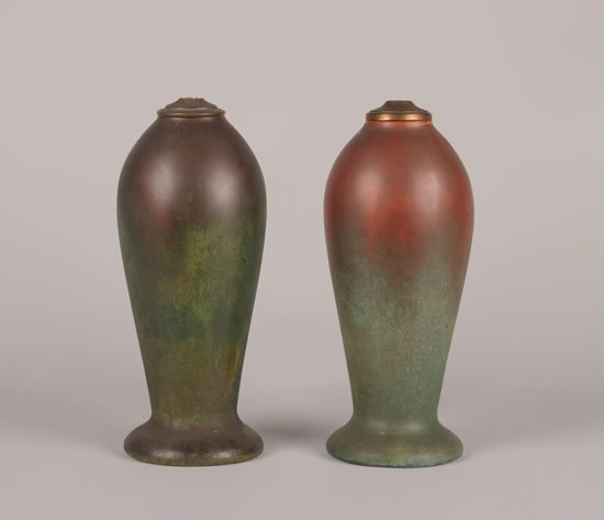 913: Two Clewell Copper-Clad Pottery Lamp Bases,