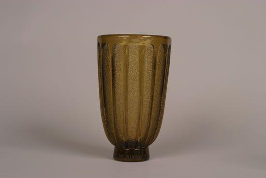 A Daum Nancy Amber Glass Vase,