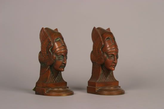 A Pair of Art Deco Patinated Bronze Bookends,