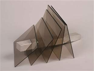 A Glass and Stainless Steel Sculpture,