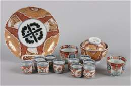 A Set of Ten Japanese Imari Porcelain Sake Cups,