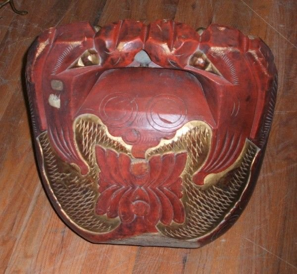 4009: A Japanese Red and Gilt Lacquer Carved Wood Baske