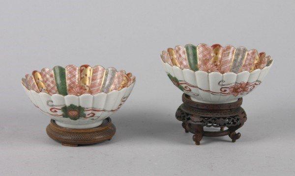 4022: A Pair of Japanese Imari Porcelain Foliate Bowls,