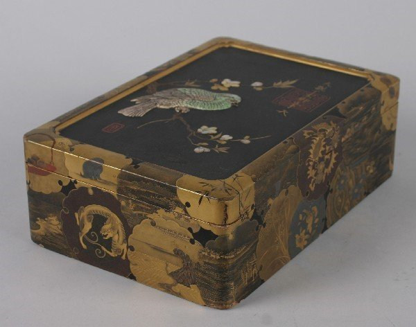 4023: A Japanese Black and Gilt Lacquer Mother of Pearl