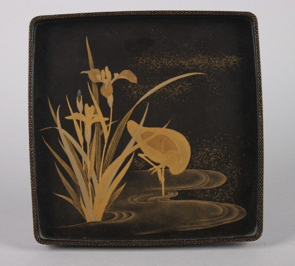 4024: A Japanese Black Lacquer Tray, Width 8 x length 8