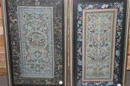 4154 A Pair of Chinese Silk Embroidered Panels Employi