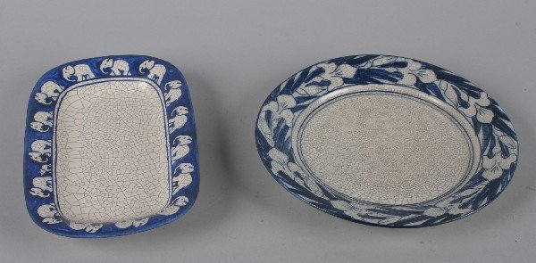 4877: Two Pieces of Dedham Pottery, Diameter of first 1