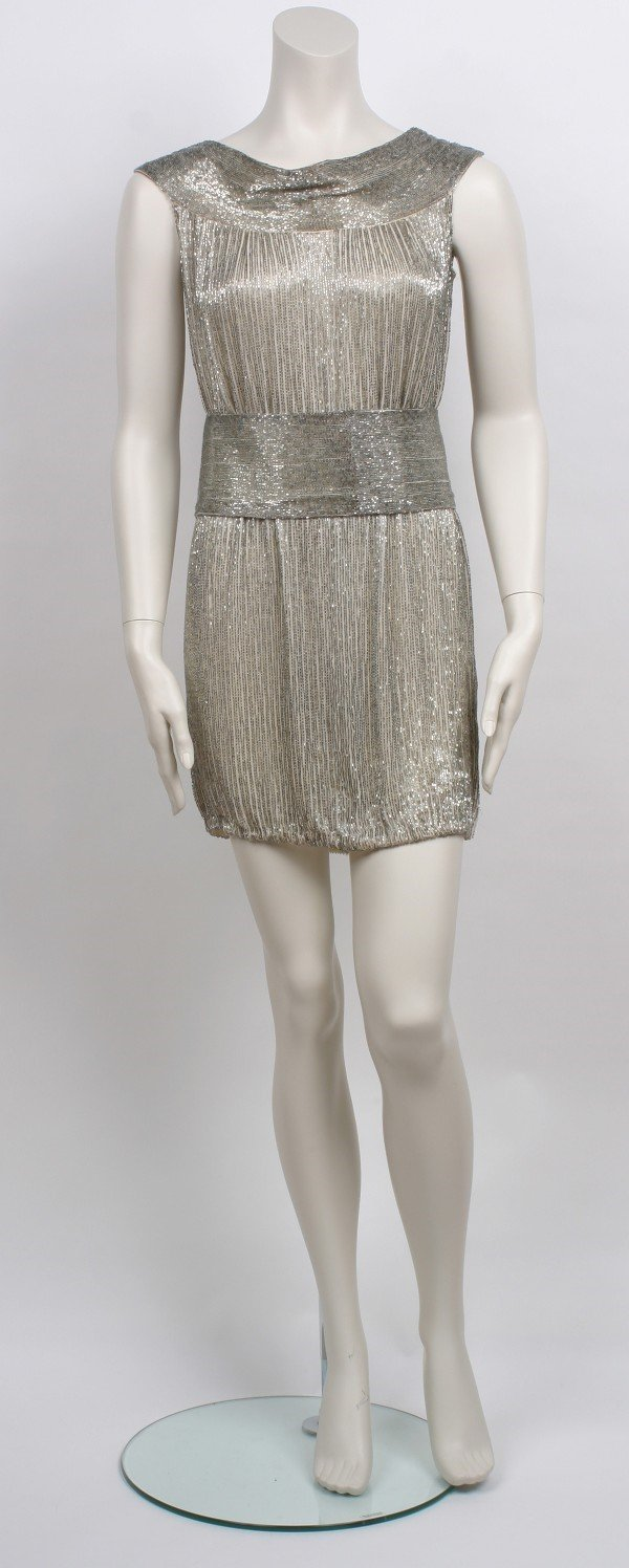1: Norman Norell Silver Beaded Tunic Dress with Belt