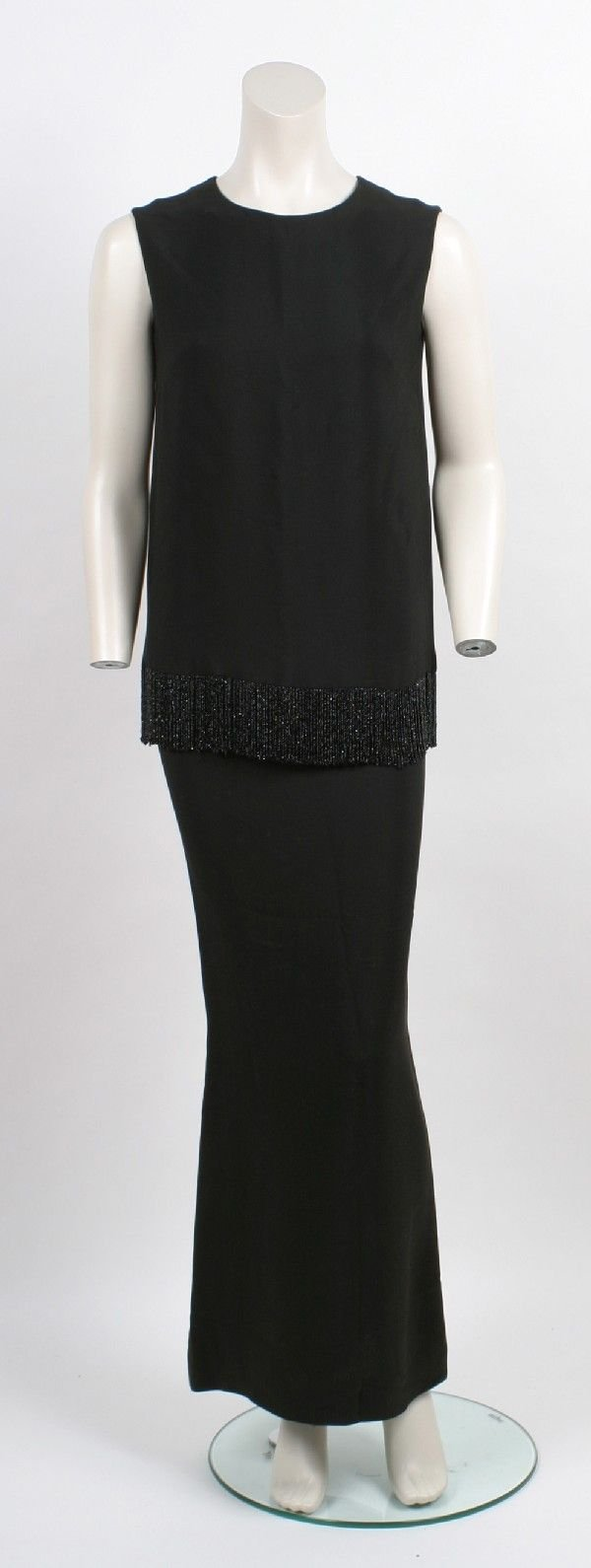 5: Norman Norell Black Silk Crepe Evening Ensemble