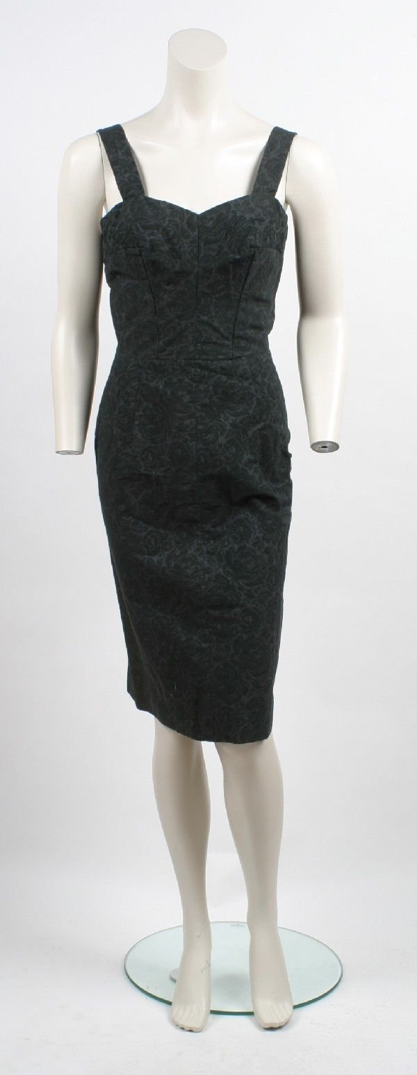 7: Traina-Norell Black Cotton Brocade Cocktail Dress