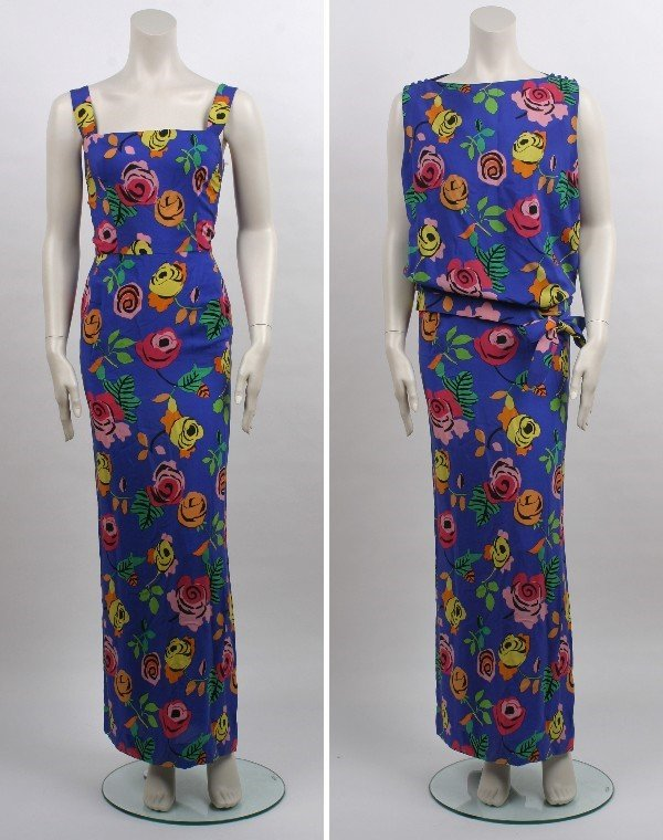 8: Traina-Norell Two Piece Silk Printed Gown