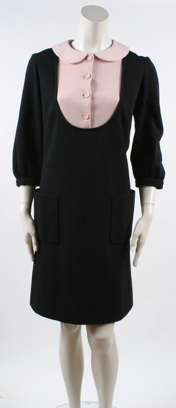 13: Norman Norell Black and Pink Wool Knit Dress