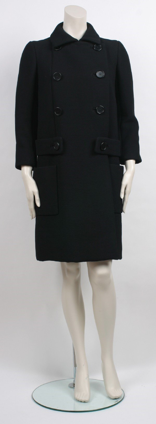 15: Norman Norell Black Hard Finished Wool Coat