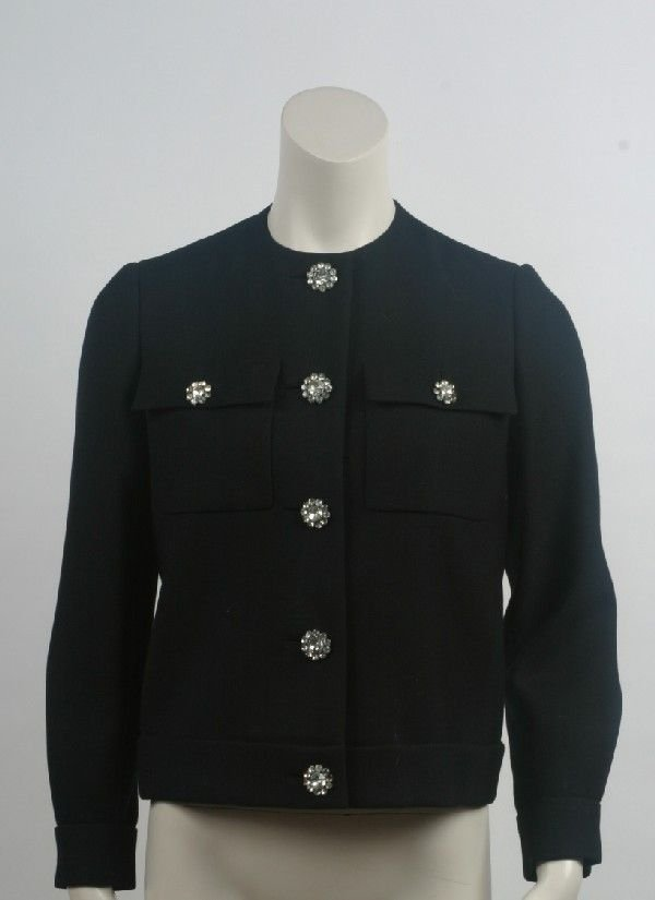 16: Black Wool Jacket with Rhinestone Buttons