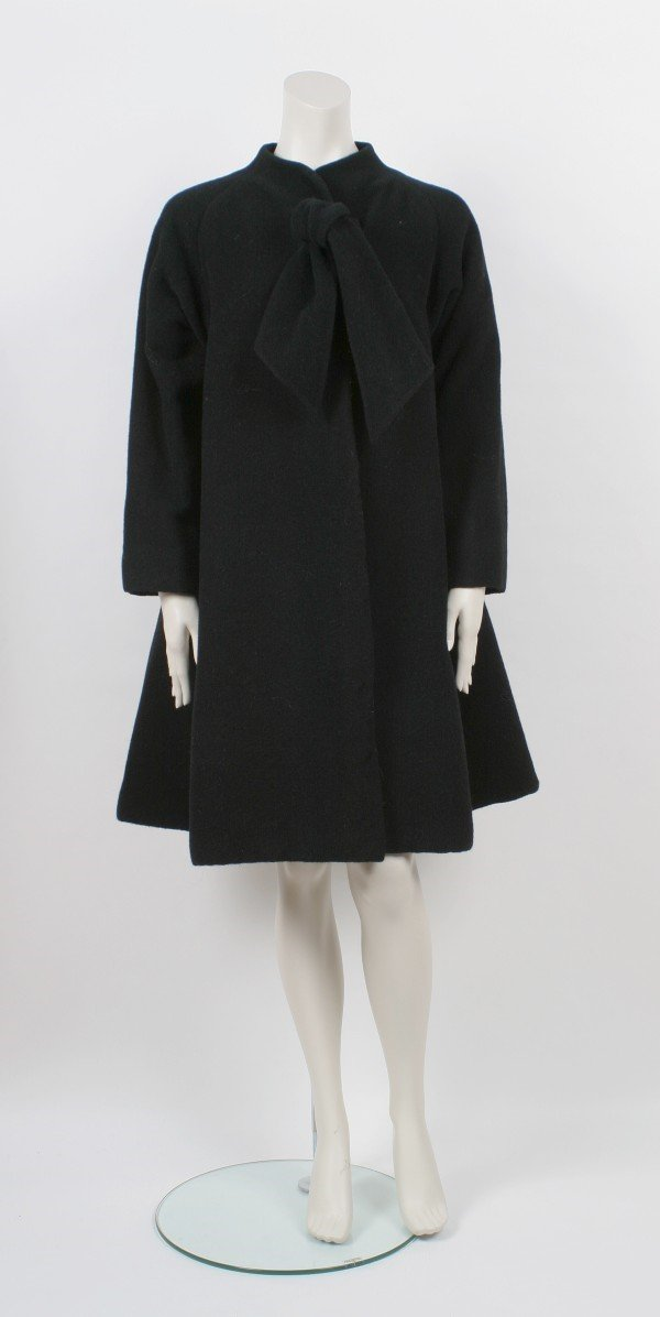 21: Pauline Trigere Black Wool Swing Coat