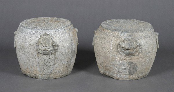 519: A Pair of Chinese Stone Jardiniere Form Pedestals,