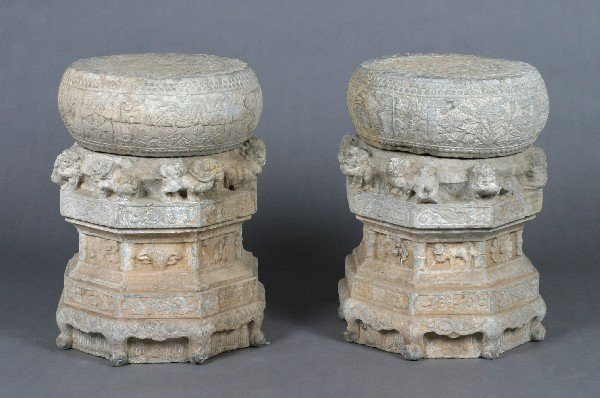 520: A Pair of Carved Chinese Stone Plinths and Bases,