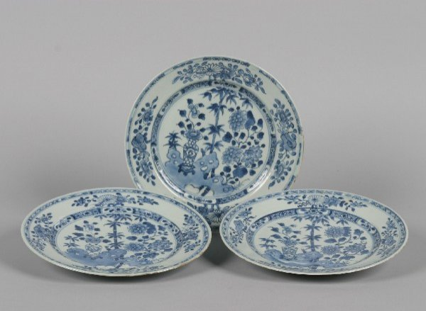 523: Three Chinese Export Blue and White Porcelain Plat