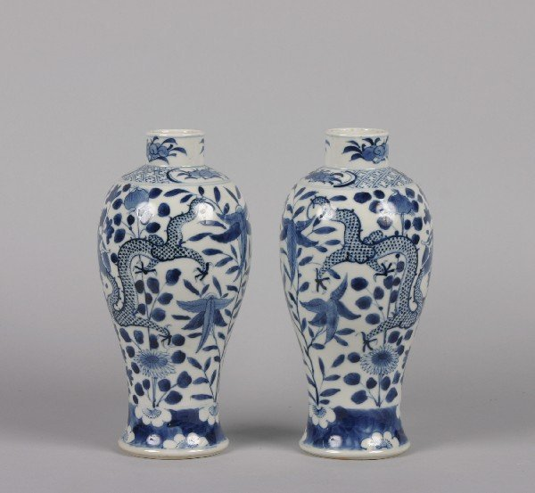 530: A Pair of Chinese Blue and White Porcelain Baluste