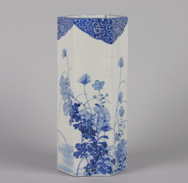 533: A Chinese Blue and White Porcelain Hexagonal Vase,