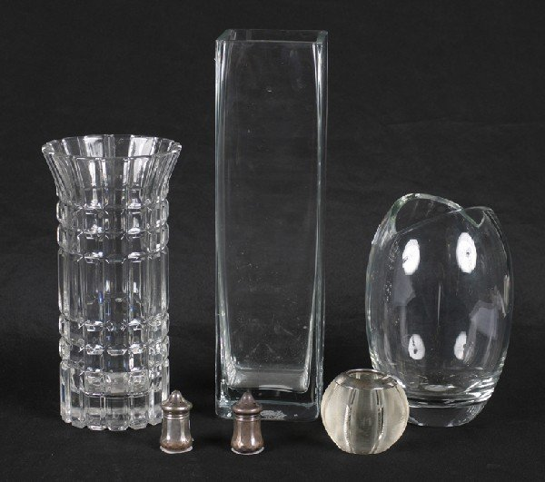 2: A Victorian Silver Mounted Glass Candle Holder, Birm