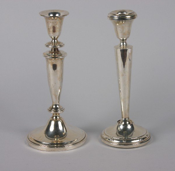 4: A Group of Two American Silver Candlesticks, Height