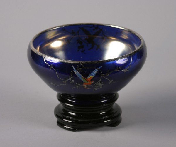 9: A Cobalt and Silver Overlay Bowl, Height 4 inches, d