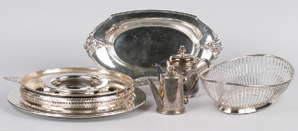 12: A Group of Silver Plate Table Articles, Diameter of