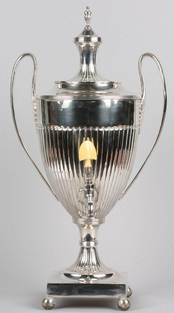 13: A Georgian Style Silver Plate Tea Urn. Height 24 1/