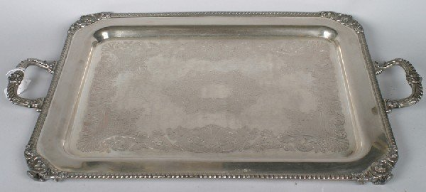18: A Large Silver Plate Serving Tray, Length 31 inches