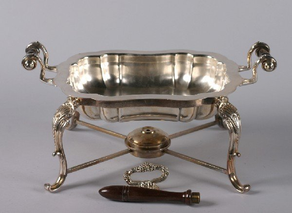 19: A Silver Plate Serving Dish and Stand, Height 9 1/4