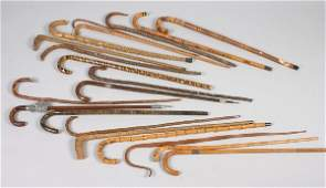 A Group of 20 Wooden Canes, Length of first 37 1/2