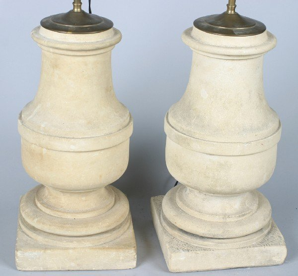 180: A Pair of Carved Cement Table Lamps, Height of eac